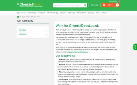 Screenshot of Jobs Page chemistdirect.co.uk - Work with Us - Chemist Direct - captured Dec. 7, 2018