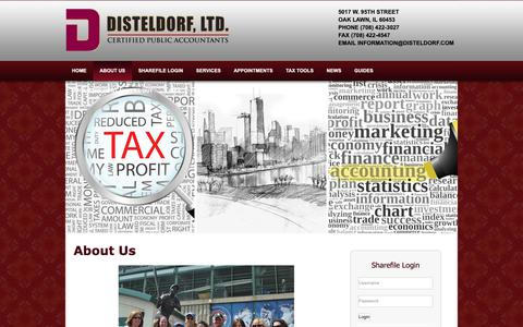 Screenshot of About Page disteldorf.com - Disteldorf Ltd.: A professional tax and accounting firm in Oak Lawn, Illinois: About Us - captured Oct. 9, 2018