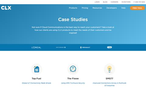 Screenshot of Case Studies Page clxcommunications.com - Case Studies | CLX Communications | Top Fuel | The Floow | SMS77 - captured Aug. 2, 2018