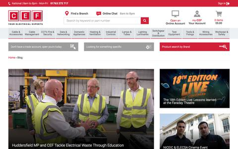 Screenshot of Blog cef.co.uk - Electrical Contracting Blog | CEF - captured Sept. 23, 2018