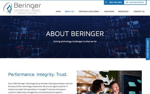 Screenshot of About Page beringer.net - About Us - Cherry Hill, Mount Laurel, Pennsauken | Beringer Technology Group - captured Oct. 10, 2017