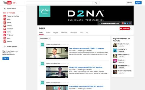 Screenshot of YouTube Page youtube.com - D2NA  - YouTube - captured Oct. 23, 2014