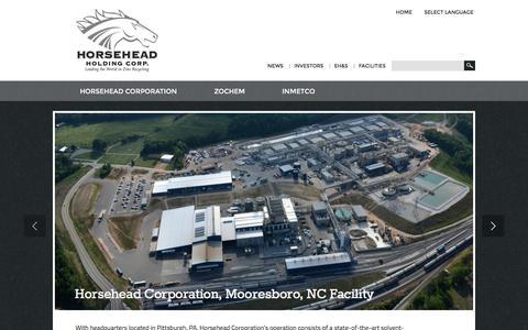 Screenshot of Home Page horsehead.net - Home | Horsehead Holding Corp. - captured June 27, 2016