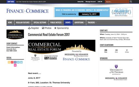 Commercial Real Estate Forum 2017 – Finance & Commerce