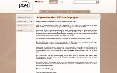 Screenshot of Terms Page pdmtourismgroup.com - Allgemeine Geschäftsbedingungen  |  PDM Tourism Group - captured July 9, 2016