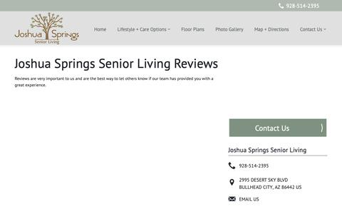 Screenshot of Testimonials Page milestoneretirement.com - Senior Living Resources | Joshua Springs Senior Living - captured Oct. 23, 2018
