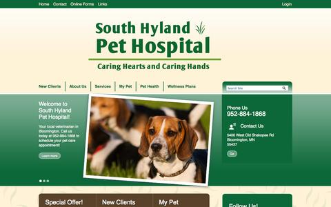 Screenshot of Home Page Login Page southhyland.com - Veterinarians Bloomington, Minnesota | South Hyland Pet Hospital - captured Oct. 6, 2014