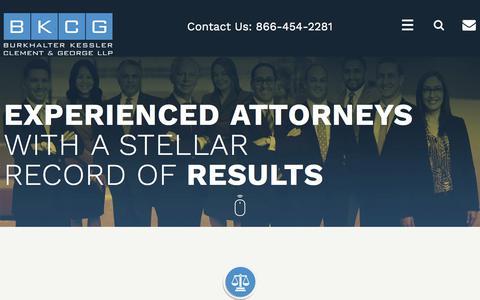 Screenshot of Home Page bkcglaw.com - Orange County Litigation Attorneys | Business, Employment, Real Estate - captured Oct. 11, 2017