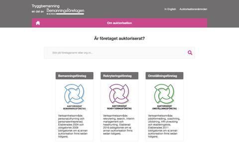 Screenshot of Home Page tryggbemanning.se - Tryggbemanning         | Auktoriserat bemanningsföretag – det trygga alternativet - captured Dec. 1, 2017