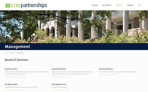 Screenshot of Team Page unep.edu.au - Management – UNE Partnerships - captured Oct. 4, 2017