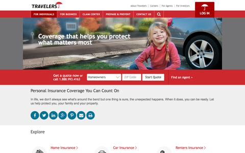 Screenshot of Products Page travelers.com - Personal Insurance - Auto, Home & More | Travelers Insurance - captured July 10, 2017