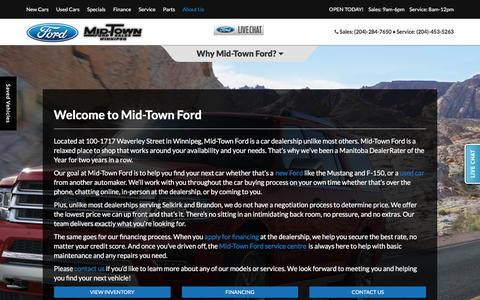 Screenshot of About Page mid-townford.com - Ford and Used Car Dealer Selkirk | Mid-Town Ford - captured May 21, 2016