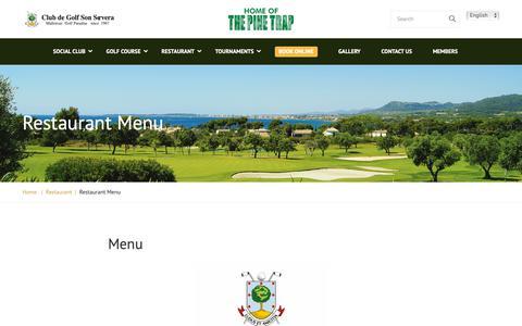 Screenshot of Menu Page golfsonservera.com - Restaurant Menu – Club Golf Son Servera - captured Sept. 26, 2018