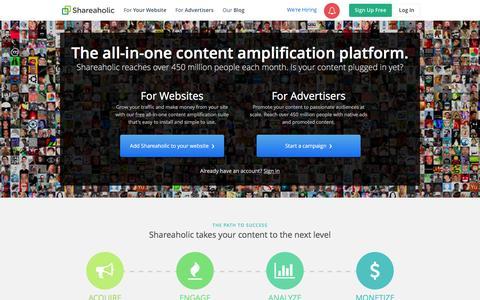 Screenshot of Home Page shareaholic.com - Shareaholic — Content Amplification Software - captured Dec. 2, 2015