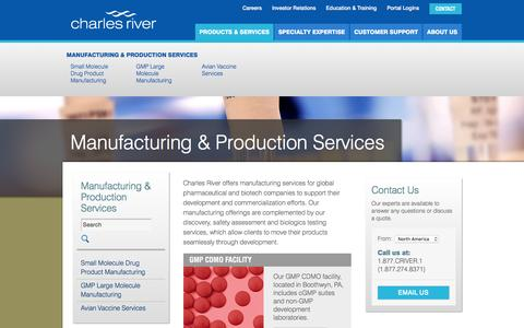 Screenshot of Services Page criver.com - Manufacturing & Production Services | Charles River - captured July 3, 2016