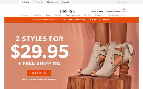 Screenshot of Home Page justfab.com - Women's Shoes, Boots, Handbags & Clothing Online | JustFab - captured Aug. 7, 2019