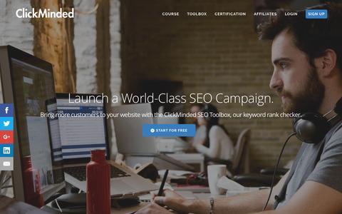 Screenshot of clickminded.com - Keyword Rank Checker: The ClickMinded SEO Toolbox - captured March 20, 2016