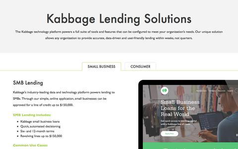 Screenshot of kabbageplatform.com - Platform Lending Solutions | Kabbage Lending Solutions | Kabbage Products - captured Jan. 3, 2018