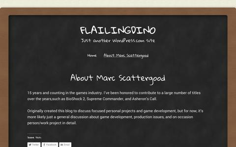 Screenshot of About Page wordpress.com - About Marc Scattergood | flailingdino - captured Sept. 12, 2014
