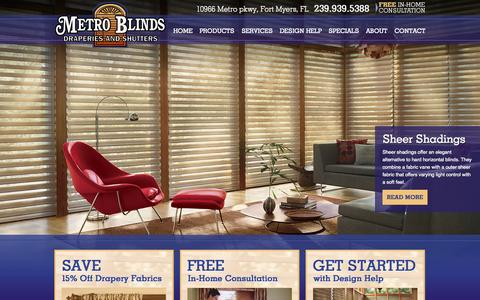 Screenshot of Home Page metroblindsfl.com - Metro Blinds, Draperies, and Shutters | Window Treatments - captured Oct. 6, 2014