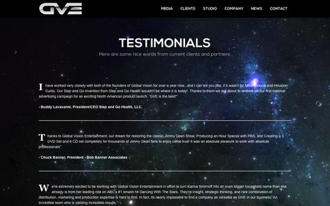 Screenshot of Testimonials Page globalvisionentertainment.net - Global Vision Entertainment - captured March 3, 2016