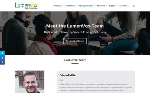 Screenshot of Team Page lumenvox.com - Team - LumenVox - captured March 23, 2019