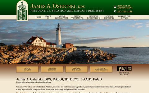 Screenshot of Home Page droshetski.com - Dentist Brunswick ME | Dentists in Brunswick ME | Dr. James Oshetski | Brunswick ME Dentist | Implant & Sedation Dentistry - captured Nov. 26, 2016