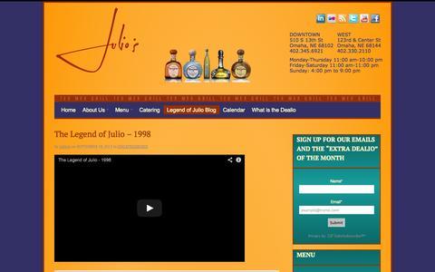 Screenshot of Blog julios.com - Legend of Julio Blog » Julios - Omaha Mexican Restaurant, Tex-Mex Cusine in Omaha, NE - captured Sept. 30, 2014