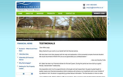 Screenshot of Testimonials Page havenifa.co.uk - Testimonials | Haven Independent Financial Advisers - captured Oct. 2, 2014