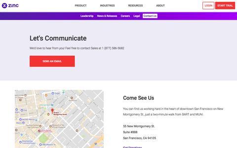 Screenshot of Contact Page zinc.it - Contact Us - Zinc - captured Oct. 23, 2017