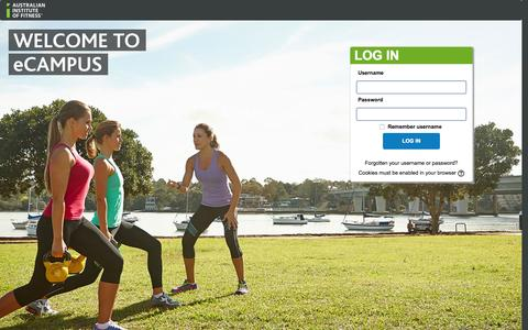 Screenshot of Login Page fitness.edu.au - eCampus - Australian Institute of Fitness: Log in to the site - captured Nov. 2, 2015