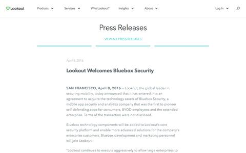 Screenshot of Press Page lookout.com - Lookout Welcomes Bluebox Security - captured May 23, 2017