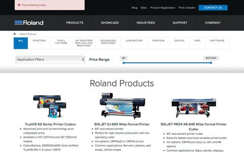 Screenshot of Products Page rolanddg.com.au - Search for inkjet printers, engravers, dental mills and more | Roland DG - captured Nov. 13, 2017