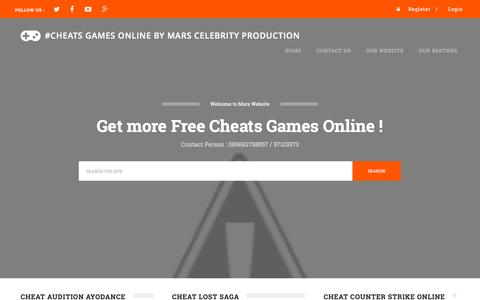 Screenshot of Home Page marscheat.com - #Cheats Games Online By Mars Celebrity Production - captured Sept. 12, 2015