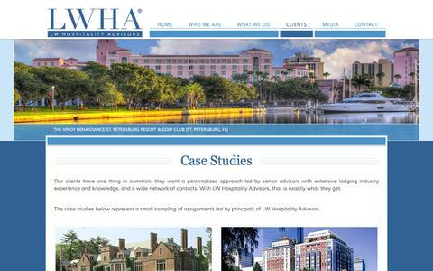 Screenshot of Case Studies Page lwhospitalityadvisors.com - Case Studies - LWHA - Hospitality Advisors - captured Oct. 1, 2014