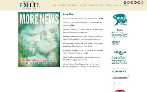 Screenshot of Press Page paprolife.org - More News — Pennsylvania Pro-Life Federation - captured July 21, 2017