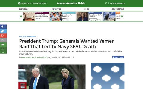 Screenshot of patch.com - President Trump: Generals Wanted Yemen Raid That Led To Navy SEAL Death - Across America, US Patch - captured March 2, 2017