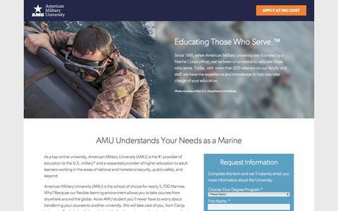 Screenshot of Landing Page apus.edu - Top Provider of Online Degrees to U.S. Marines | American Military University - captured July 12, 2017