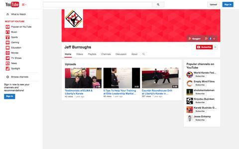 Screenshot of YouTube Page youtube.com - Jeff Burroughs  - YouTube - captured Oct. 22, 2014