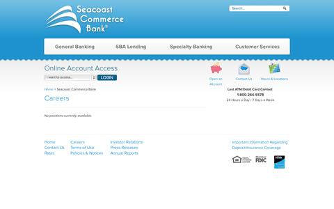 Screenshot of Jobs Page sccombank.com - Seacoast Commerce Bank - captured Oct. 1, 2014