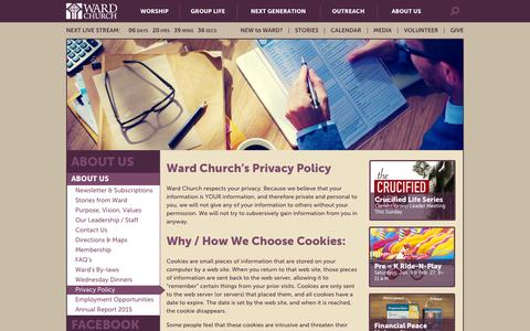 Screenshot of Privacy Page wardchurch.org - Privacy Policy - Ward Church - captured Jan. 10, 2016