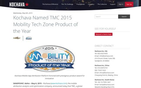 Kochava Named TMC 2015 Mobility Tech Zone Product of the Year |  - Kochava