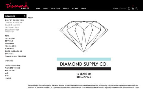 Screenshot of About Page diamondsupplyco.com - About / Diamond Supply Co. - captured Oct. 10, 2014