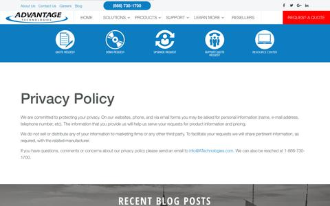 Screenshot of Privacy Page atechnologies.com - Privacy Policy - captured July 9, 2018