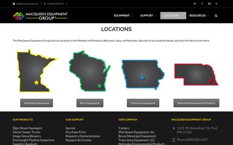 Screenshot of Contact Page Locations Page macqueeneq.com - Locations | MacQueen Equipment Group - captured Nov. 18, 2016