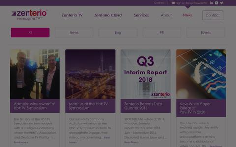 Screenshot of Press Page zenterio.com - News Archive - Zenterio - captured Nov. 15, 2018