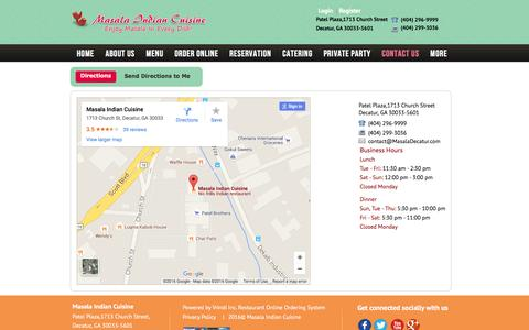 Screenshot of Maps & Directions Page masaladecatur.com - Masala Indian Cuisine | Directions Location Map Distance Information Decatur GA (404) 296-9999 - captured March 8, 2016