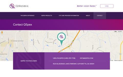 Screenshot of Contact Page Maps & Directions Page qspex.com - Contact QSpex | QSpex - captured Oct. 22, 2014