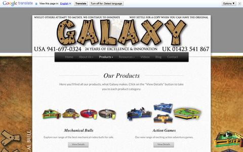 Screenshot of Products Page galaxymultirides.com - Products | Mechanical bull insurance - Galaxy Multi Rides - captured Sept. 29, 2014
