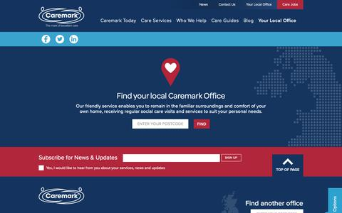 Screenshot of Contact Page Locations Page caremark.co.uk - Home Care Company Working Across The UK | Caremark - captured Sept. 27, 2018